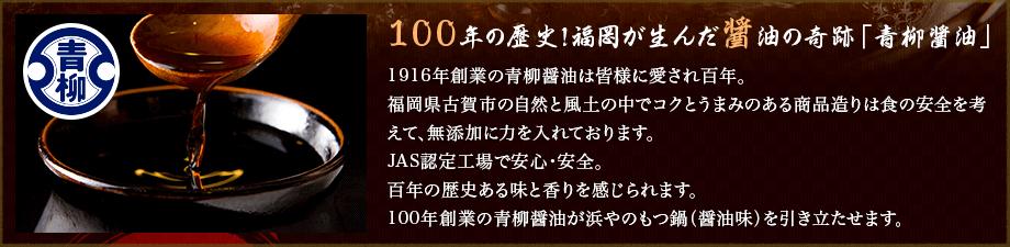 100年の歴史!福岡が生んだ醤油の奇跡「青柳醤油」1916年創業の青柳醤油は皆様に愛され百年。福岡県古賀市の自然と風土の中でコクとうまみのある商品造りは食の安全を考えて、無添加に力を入れております。JAS認定工場で安心・安全。百年の歴史ある味と香りを感じられます。100年創業の青柳醤油が浜やのもつ鍋(醤油味)を引き立たせます。